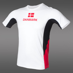 PRO Danmark T-Shirt, White/Black/Red