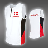 PRO Danmark zip-singlet, White/Black/Red