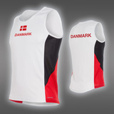 LIGHT Danmark Singlet, White/Black/Red