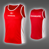 LIGHT Danmark Singlet, Red/White