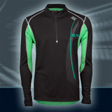 Pulse Longslv Zipshirt, Black/Green