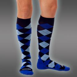 Compression Socks, Argyle Blue Line