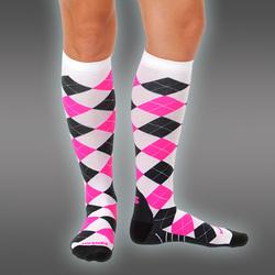 Compression Socks, Argyle Neonpink Line