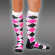 Compression Socks, Argyle Neonpink Line